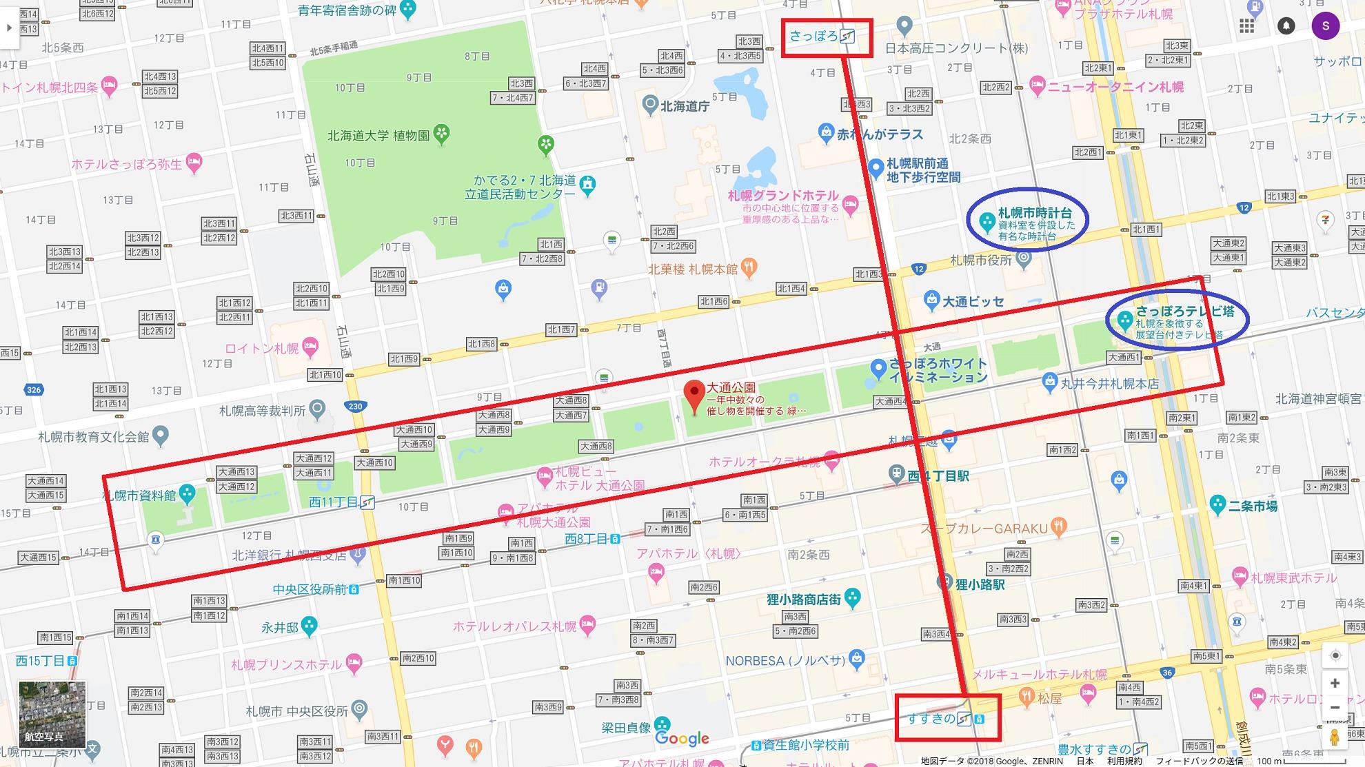 札幌都心部の地図